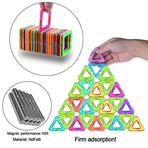 Gifts2U Magnetic Building Blocks Set-152PCS Creative Magnetic Tiles Building Kit Preschool Educational Construction Kit Magnet Stacking Toys for Kids Toddlers Boys Girls by Gifts2U (Image #2)
