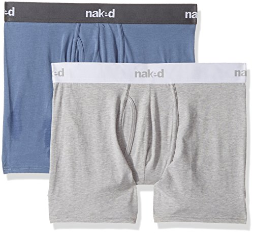 Naked Men's Stretch Cotton Boxer Briefs 2 Pack, Metro Grey/Dusk Blue Combo, Large Metro Brief
