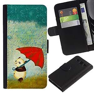 KingStore / Leather Etui en cuir / Samsung Galaxy S3 III I9300 / Panda dulce Paraguas Rainy Dibujo