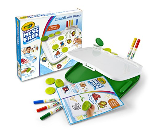 Crayola Color Wonder Mess Free Art Desk with Stamps, Kid Art Supplies, Travel Coloring Kit, Over 20 Pieces, Gift (Crayola Light Desk)