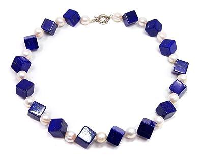 a75a12e605f9 Collar Joyas Collar Lapislázuli Cadena en forma de cubo con entre perlas de agua  dulce perlas azules Color  Amazon.es  Joyería