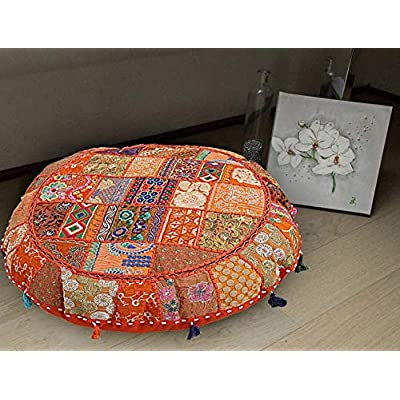 textile treasure Indian Hand Embroidered Patchwork Pillow Shams Hippie Gypsy Foot Stool Outdoor Home Decorative Vintage Seating Pouf: Home & Kitchen