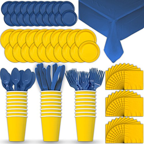 Paper Tableware Set for 24 - Yellow & Blue - Dinner and Dessert Plates, Cups, Napkins, Cutlery (Spoons, Forks, Knives), and Tablecloths - Full Two-Tone Party Supplies Pack ()