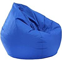 Chair Beanless Bean Bag Fillable Sofa Waterproof Stuffed Animal Lounger Couch Travel Home (Blue)