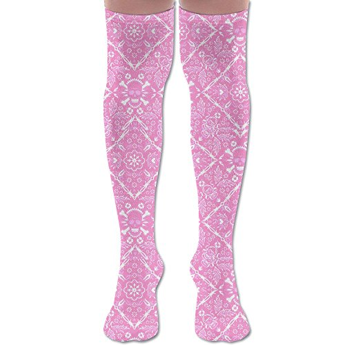 Skull And Flower Pink Pattern Long Top Casual Over Knee Thigh High Socks Stocking (Socks Knee Pink Skull)