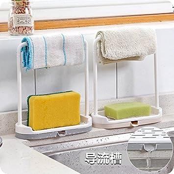MMXXAIWWAA Cocina encimera de almacenamiento en rack trapo para lavar platos paño de drenaje estante toalla de trapo toalla de rack colgador: Amazon.es: ...