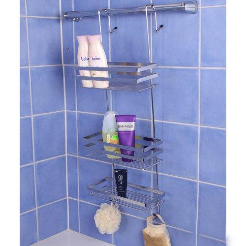 TecTake Estantería de ducha, estantería de baño, estantería suspendida de 3 pisos, bandeja de ducha, cesta de ducha sin orificios y de acero ...