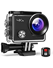 APEMAN Action Camera A77, 4K 20MP Webcam WiFi Sports for Vlog Underwater Cam Waterproof 30M with Remote Control