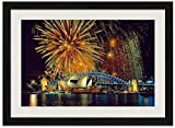 Fireworks Over the Sydney Opera House and Harbor Bridge - Art Print Wall Black Wood Grain Framed Picture(24x16inch)