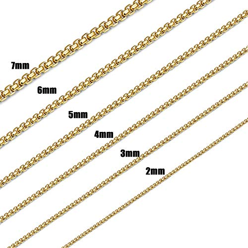 (Jstyle 2-7mm Gold Plated Necklace for Women Men Square Rolo Chain Necklace Stainless Steel Neckace Jewelry 20