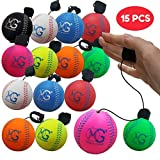 Macro Giant 2.8 Inch (Diameter) Foam Rebound Ball, Set of 15, Assorted Colors, Baseball, Return Ball, Easy Sports, Kids Toys, Business Gift, Stuff