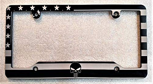 (BilletVault American Flag Punisher Billet Aluminum License Plate Frame- Black)
