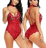 ADOME Women Red Lace Lingerie Bodysuit Lace Printed Babydoll Bodysuit Medium