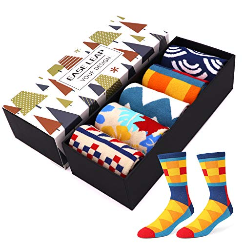 Mens Dress Socks Funny Colorful Patterned Cotton Hosiery Funky Crew Socks for Women with Gift Box (US Shoe Size: Men 8-12/Women 9-13, 5 Pairs Color 4) (Funky Socks Women Cotton)