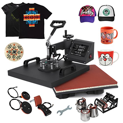 Mophorn Heat Press 15x15Inch 8pcs Heat Press Machine 1050W Multifunctional Sublimation Dual LED Display Heat Press Machine for t Shirts Swing Away Design (15X15Inch, 8IN1 Presser) (Best Custom Shirt Maker)