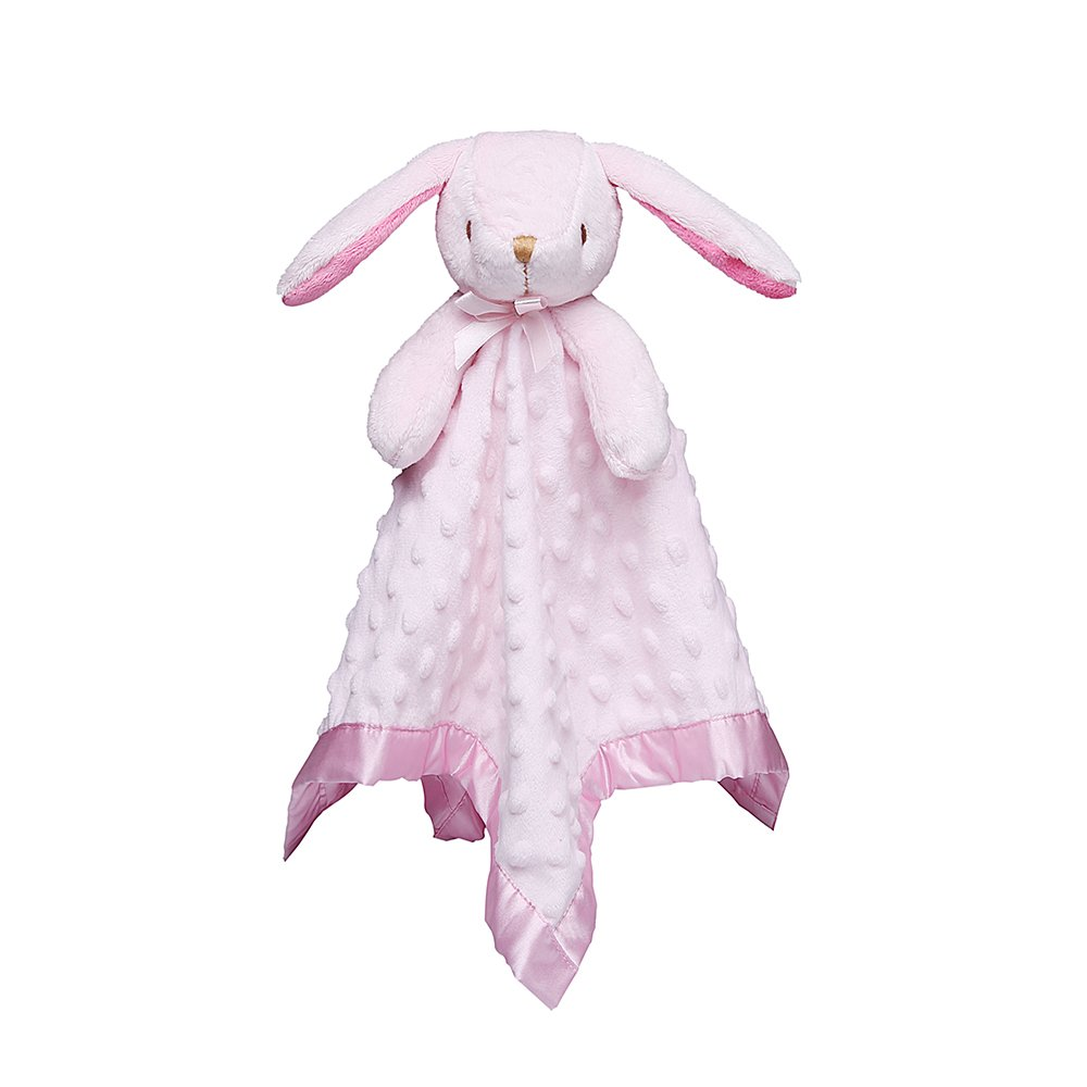 Baby Comforter Blankets with Plush Stuffed Animals Infant Pink Rabbit Security Blanket, Bedtime Cuddle Toy Pro Goleem afj-tuzi