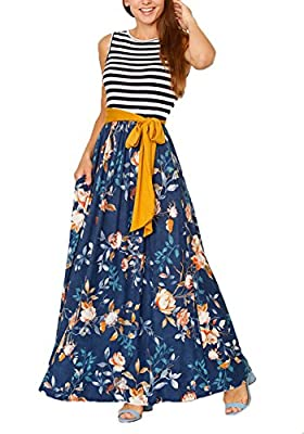 NuoReel Women's Summer Sleeveless Casual Floral Stripe-Accent Maxi Dress Pockets with Belt