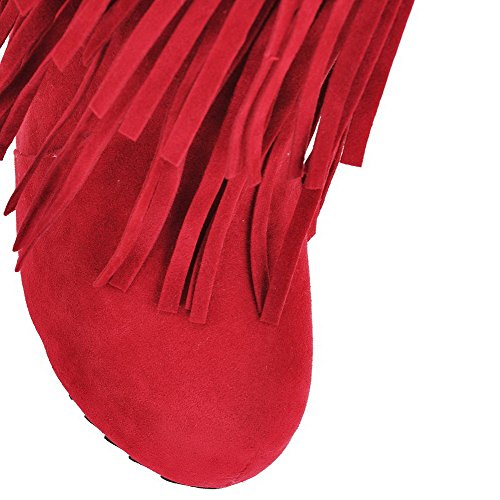 AgooLar Womens High-Heels Solid Round Closed Toe Frosted Pull-on Boots Red ndvU1v79G