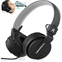 Active Noise Cancelling Headphones with Microphone/Controller, Monodeal Lightweight Over the Ear Wired Earphones, Foldable Travel Hi-Fi Stereo Headset with Airplane Adapter - Black