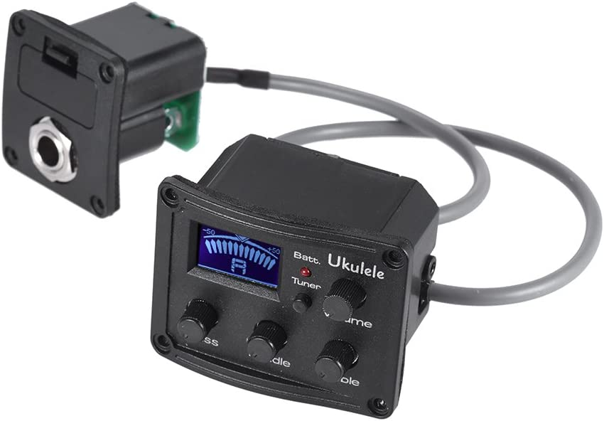 Ukulele Piezo Pickup Preamp 3-Band EQ Equalizer-Tuner-System mit LCD E8R1