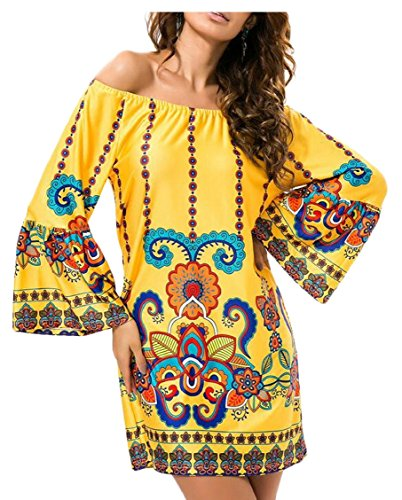 Dress 9 Off Mini Shoulder Jaycargogo Long Bell Sleeve Women's Boho Boho Bohemian Print 4qWnwvP7t