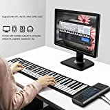 Lujex 61 Keys Double Speaker Roll Up Piano Upgraded Portable Rechargeable Electronic Hand Roll Piano with Environmental Silicone Piano Keyboard for Beginners