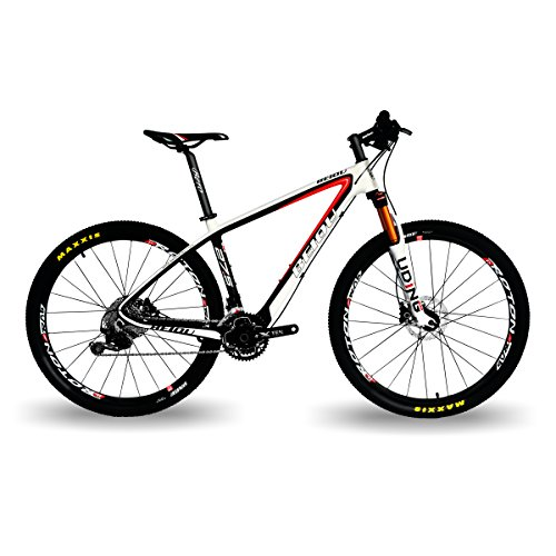 BEIOU Carbon Fiber 650B Mountain Bike 27.5-Inch 10.7kg T800 Ultralight Frame 30 Speed Shimano M6000 DEORE MTB Matte 3K CB20 (White&Red, 17-Inch)