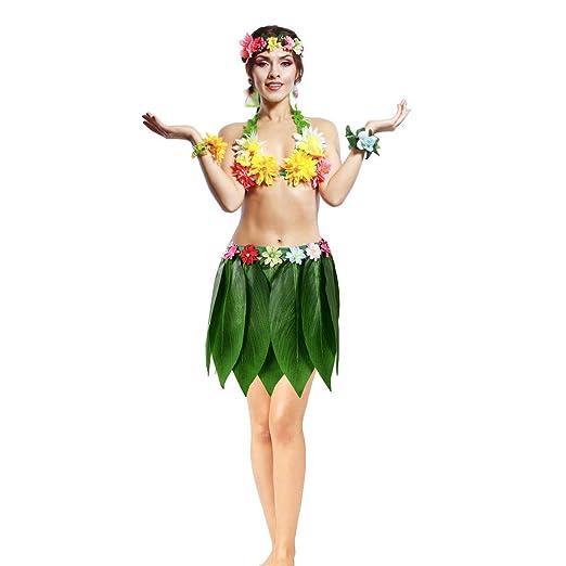 Fiesta Hawaiana de simulación Falda de Hoja Adulto Hawaiano ...