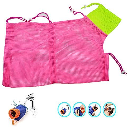 Cat-Bathing-Grooming-BagSoft-Dacron-Cat-Restraint-Bag-which-is-Easy-to-Dry-Mesh-Breathable-BathingGrooming-Feeding-Bag-for-Pet-Supplies-by-YRH-pink