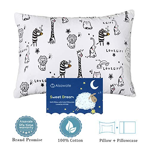 Toddler Kids Pillow with Pillowcase,Soft Organic Cotton Baby Childrens Pillows 13X18 for Girls Boys Sleeping,Washable and Hypoallergenic,Best Kids Gift]()