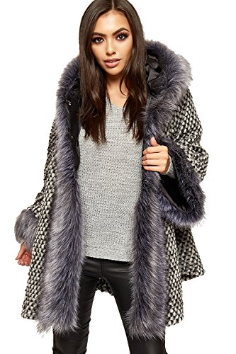 WEARALL Women's Faux Fur Trim Hood Knit Flared Swing Jacket Cardigan Poncho Coat - Grey - One - Furry Hem Knit