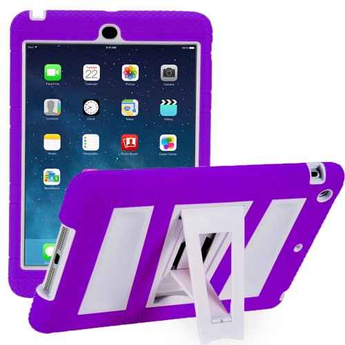 i-Blason Apple iPad Mini 2/3/4 Case with Retina Display ArmorBox 2 Layer Convertible [Hybrid] Full-Body Protection KickStand Case with Built-in Screen Protector for Kids Friendly (Purple/White)