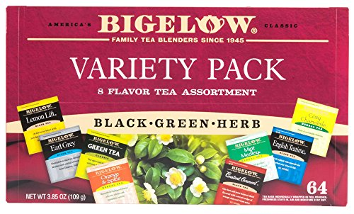 Bigelow Herbal Tea Variety Assortment Pack of 64 Tea Bags Fe