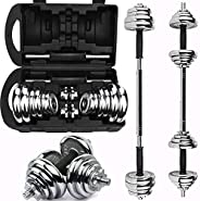 3B ProFitness Dumbbell Set, Free Weight Set, Adjustable Dumbbell Free Weights with Connecting Rods Used as Bar