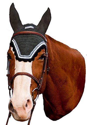 Equine Couture Fly Bonnet with Silver Lurex & Contrast Color - Pony Color - DarkCharcoal/Black, Size - ()