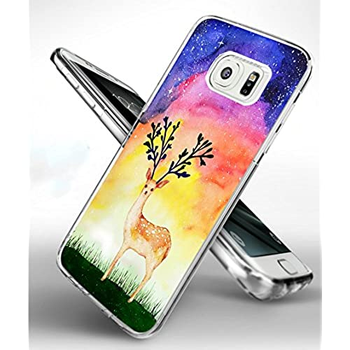 S7 Edge Case Reindeer,Samsung Galaxy S7 Edge TPU Soft Clear Full Protective Case - Design of Beautiful Reindeer Sales