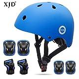 XJD Kids Helmet 3-8 Years Toddler Helmet Sports Protective Gear Set Knee Elbow Wrist Pads Roller Bicycle BMX Bike Skateboard Adjustable Helmets for Kids (Blue)