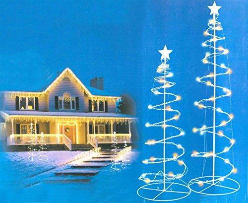 set of 2 multi color led lighted outdoor spiral christmas trees yard art 3 4 - Outdoor Led Christmas Tree