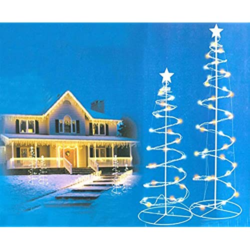 Outdoor lighted christmas trees amazon set of 2 multi color led lighted outdoor spiral christmas trees yard art 3 4 mozeypictures Images