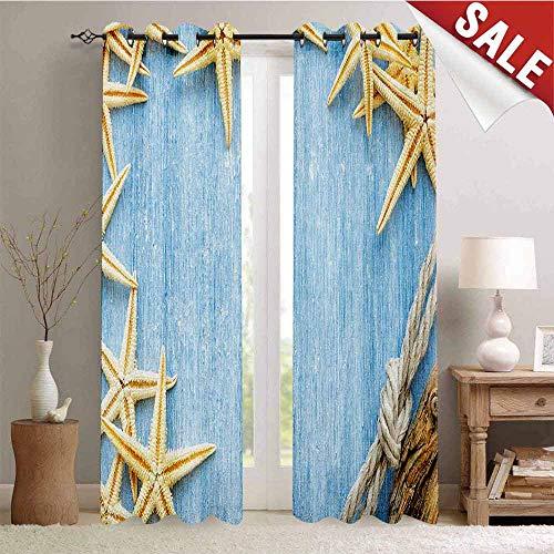 - Hengshu Seashells Drapes for Living Room Seashells Rope Maritime Beach Theme Shellfish Wooden Board Romance Vintage Window Curtain Fabric W84 x L84 Inch Baby Blue Ivory