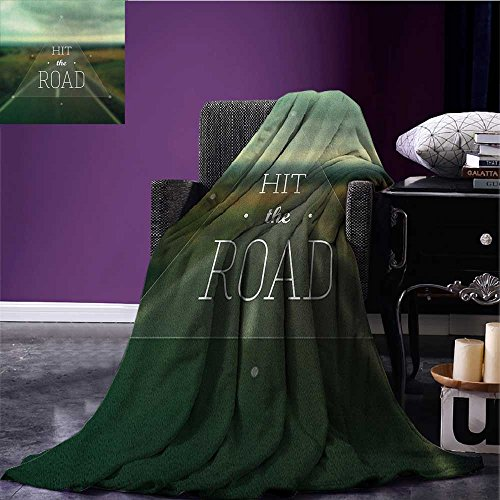 Triangle Highway (Adventure Printed blanket Hit the Road Quote inside a Transparent Triangle with Blurred Highway Background minion blanket Multicolor size:51