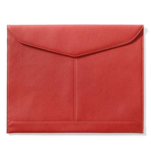 (Leatherology Document Envelope with Magnetic Closure - Full Grain Leather Leather - Scarlet (red))