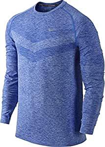 Nike Men Dri-FIT Knit Long Sleeve Running Shirt, Game Royal Blue, Large, 642124 480