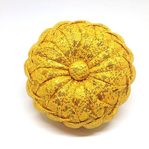 GOLD COLOR HANDMADE PINS CUSHIONS PUMPKIN PILLOW NEEDLE SEWING FABRIC THAI HANDCRAFT