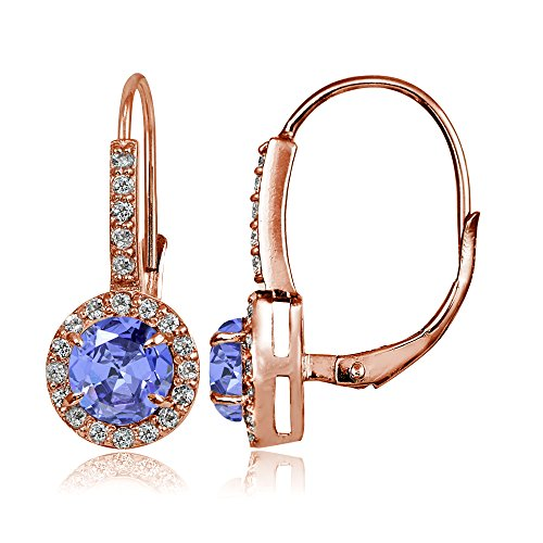 Gold Ring White Tanzanite Jewelry (Rose Gold Flashed Sterling Silver Tanzanite and White Topaz Round Leverback Earrings)