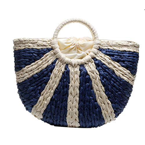 (Boho Woven Handbags for Women,LYN StarBohemia Handbag - Womens Basket Bag with Purse Insert - Handmade Summer Tote Blue)