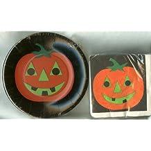 "Halloween Jack-O-Lantern Pumpkin 7 1/4"" Paper Plates 16 Count and 5""x5"" Beverage Dessert Napkins 48 Count Set"