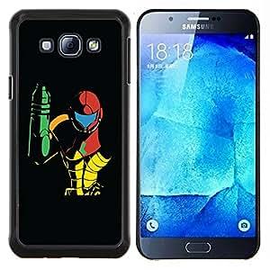 KLONGSHOP // Cubierta de piel con cierre a presión Shell trasero duro de goma Protección Caso - Metroid - Samsung Galaxy A8 A8000 //
