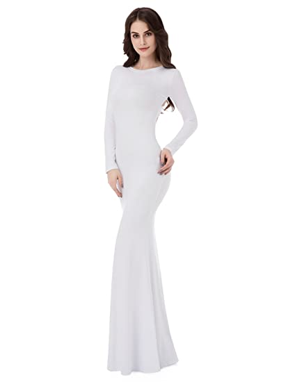 Review Sarahbridal Women's Long Sleeve Prom Dresses Mermiad Backless Sheath Evening Gowns LF015