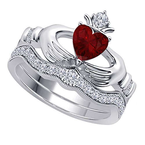 Rhodium Plated Hearts Band - SRJEWELS Women's 14k Gold Rhodium Plated Alloy White/Yellow/Rose/Black 1.00CT Heart Cut Created Ruby & Cubic Zirconia Round Wedding Band & Crown Engagement Claddagh Bridal Ring Set Jewelry